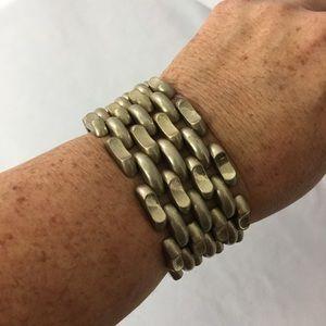 Incredible vintage panther link gold tone bracelet